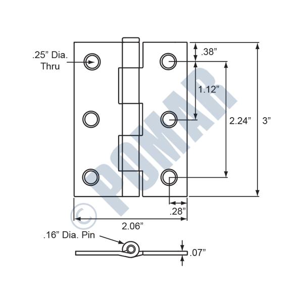 Pomar hardware narrow butt hinge loose pin zinc plated narrow butt hinge loose pin zinc plated diagram ccuart Choice Image