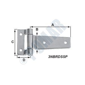 Smooth Profile Polished 304 Stainless Strap Hinge-3NBRDSSP