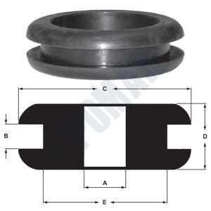 Black Rubber Grommets SBR 60 Durometer - Part and Diagram