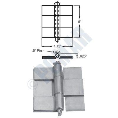 "Aluminum Butt Hinge 5"" x 4.75"""