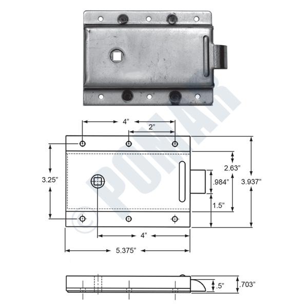 Pomar Hardware   52-C Series Heavy Duty Slam Lock