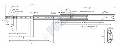 1-2250 Series Heavy Duty Over Extension Ball Bearing Drawer Slide - Diagram