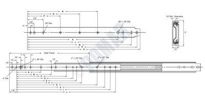 I-3300 Series Heavy Duty Full Extension Ball Bearing Drawer Slide - Diagram
