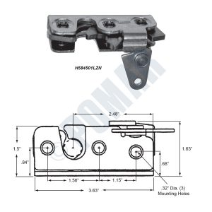 450 Series - Two Stage Rotary Latch - Part - Main Diagram