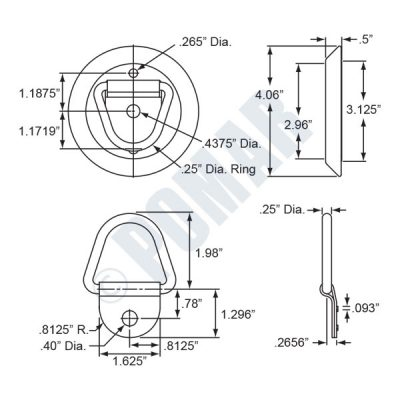300 Series Surface Mount Rope Rings - Diagram