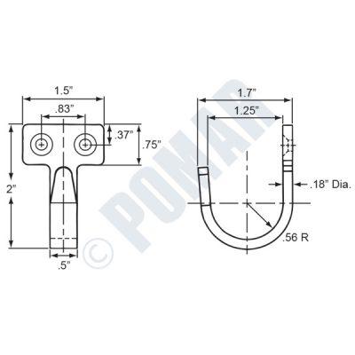362 Series Formed Steel J Hook - Diagram