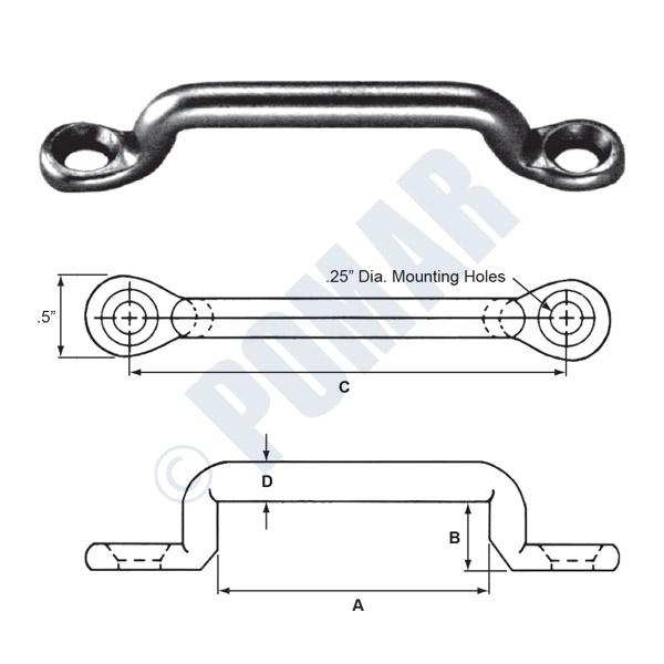 Pomar Hardware | Steel Footman Loops Zinc Plated Steel & Stainless